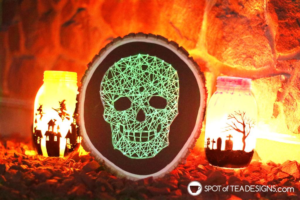 Glow in the dark craft supplies - skull string art | spotofteadesigns.com