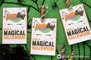 Printable Halloween unicorn lollipop holder | spotofteadesigns.com