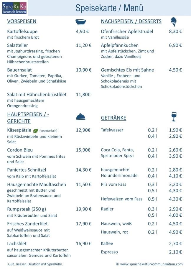 Speisekarte Deutsch lernen