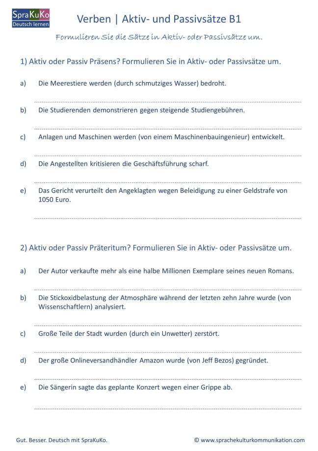 Aktiv Passiv Deutsch lernen DaF B1