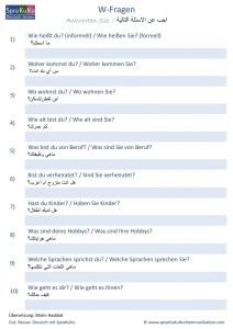 W-Fragen Kennenlernen deutsch arabisch