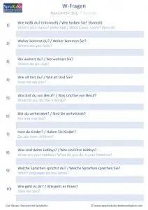 W-Fragen zum Kennenlernen deutsch englisch