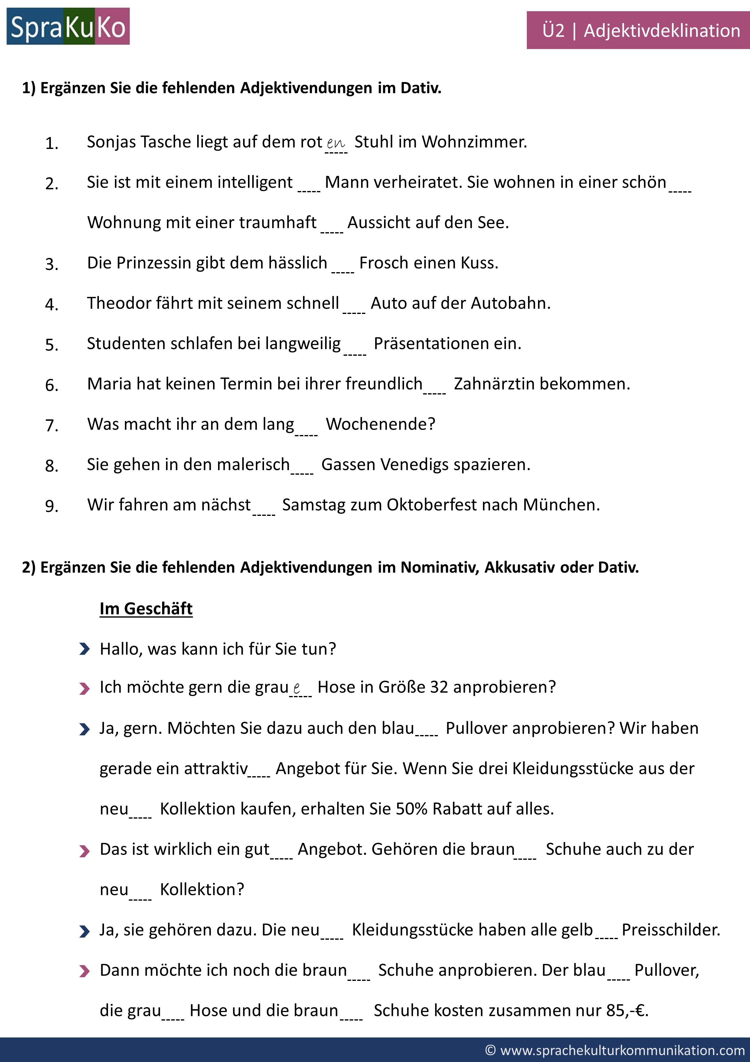 Ubung Zur Adjektivdeklination Im Nominativ Akkusativ Und