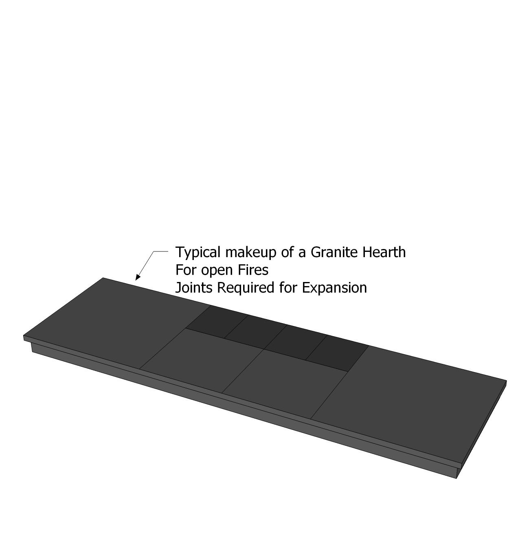 Custom Made Honed Granite Hearths