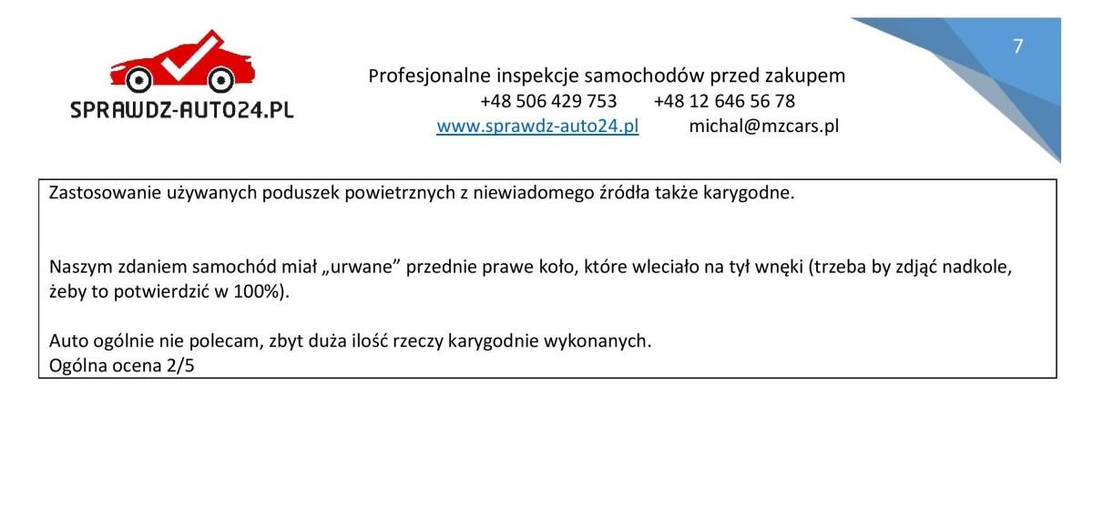 Podsumowanie raportu z oględzin samochodu - sprawdz-auto24.pl