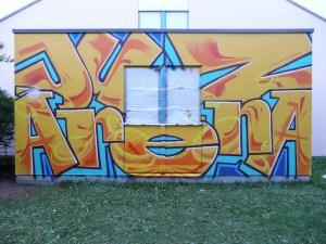 Graffitiauftrag JuZ Arena Schriftzug