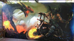 Graffitiauftrag Harley davidson graffiti terrasse