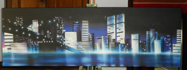 toile aerographe 50 x 150cm sur commande, New york by night, krem 2013.