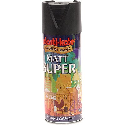 Plasti Kote 3101 400ml Super Spray Paint Matt Black