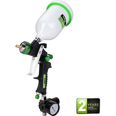PowRyte Elite 20 Oz Composite HVLP Gravity Feed Air Spray Gun with Regulator