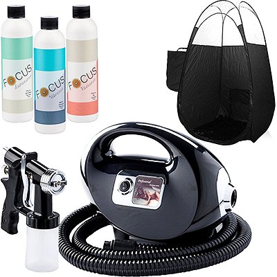 Black Fascination FX Spray Tanning Kit with Tanning Solution Pack & Black Tent