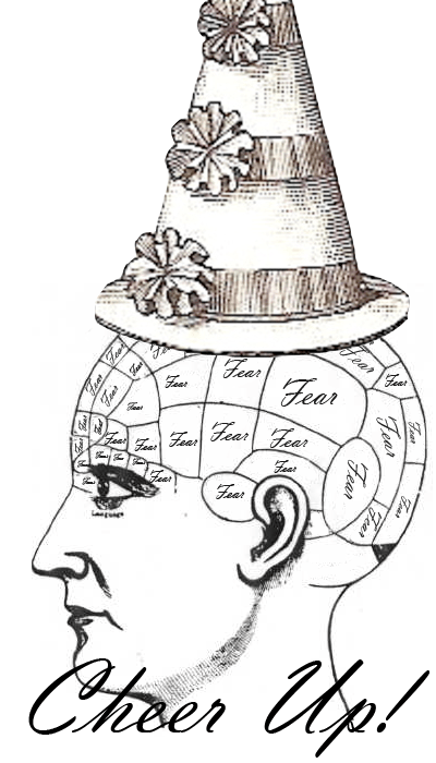 Big old phrenology head full of fear and a silly hat