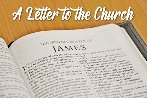 Photo of the Holy Bible opened to the Book of James--A Letter to the Church.