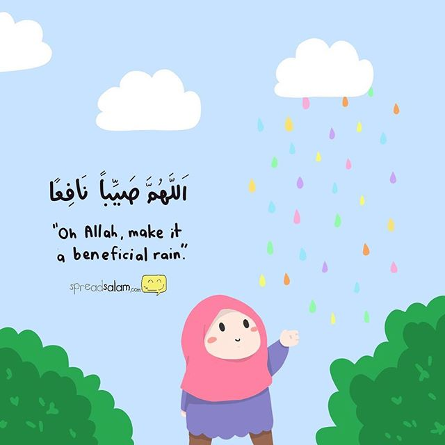 "This is the essence of a Muslim, always praying, praying for the best in everything. When it's sunny, we pray that it gives nothing but good, when it rains, we pray for the best in it. To always be positive, to be thankful and want the best in everything. So much so, our prophet s.a.w taught us so many dua(s) asking for the highest of the highest and the best of the best. He told us that if we are to ask Allah for jannah, ask for the best jannah, Jannatul Firdaus. If we are to do good deeds, seek to do the ""ahsanu 'amala"" the best of amal. Why? Because that's what a Muslim is. ""Oh Allah, I ask You to make my asking You the best and ny supplication the best. I ask of You the best success, the best amal, the best reward, the best life and the best death. I beg You to make my scales heavy with rewards, to make strong in faith, to rais eme in rank, to accept my prayers, and to forgive my sins. I beg You to put me in the highest level in Jannah. Amin."" insyaAllah. #spreadsalam #thebestmuslim #rain #illustration"