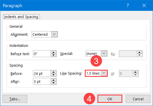 How to change line spacing