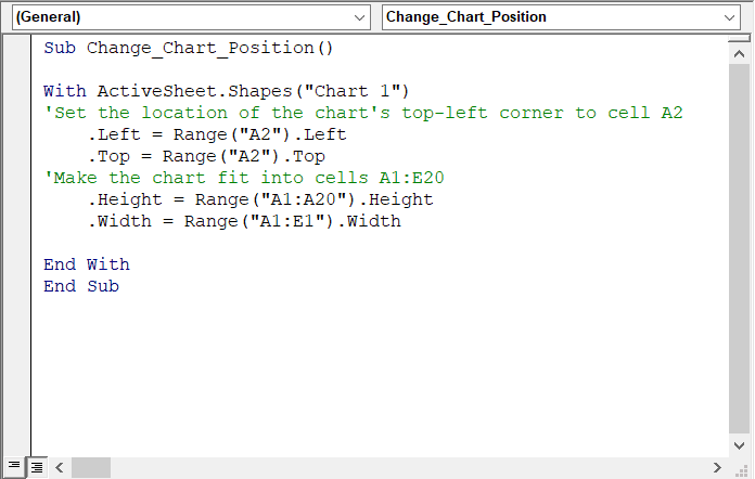 How to change the position and size of Excel charts in VBA