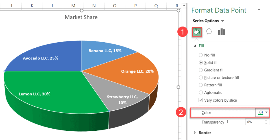 Recolor a slice of the 3-D chart