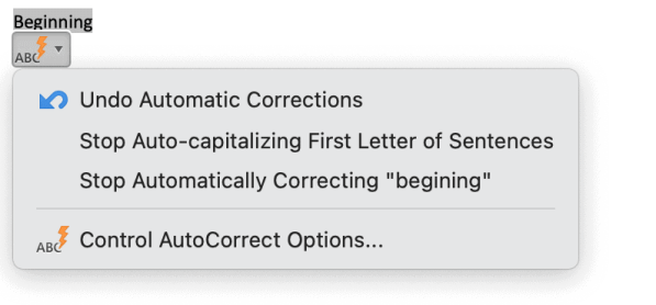 AutoCorrect Options button in Word