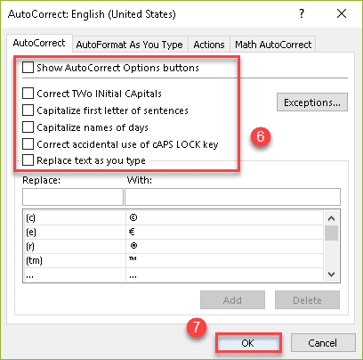 Excel AutoCorrect dialog box