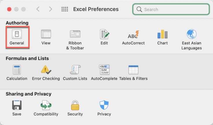 "Excel Preferences ""General"" (Mac)"