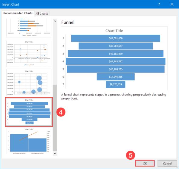 The Insert Chart dialog box
