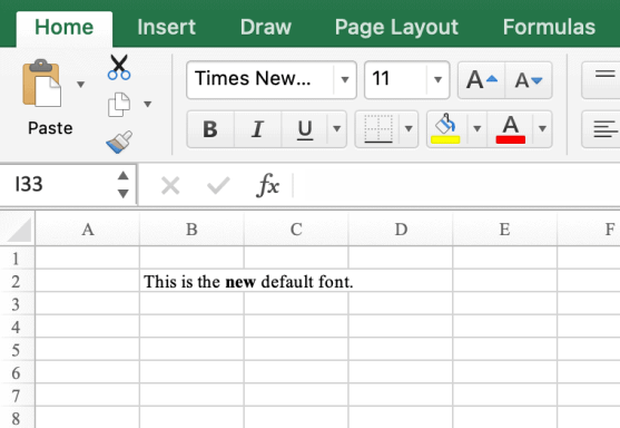 Times New Roman as the new default font in Excel (Mac)