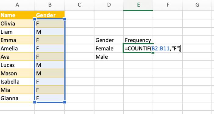 Type COUNTIF formula criteria
