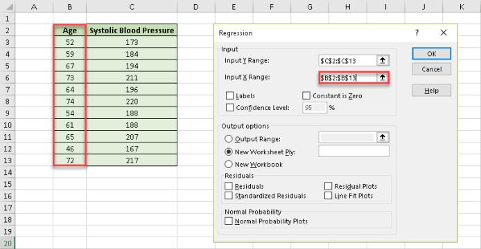 Fill the Input X Range field