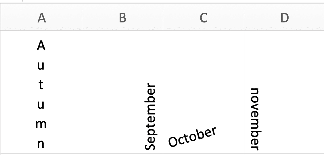 How to make text vertical in Excel