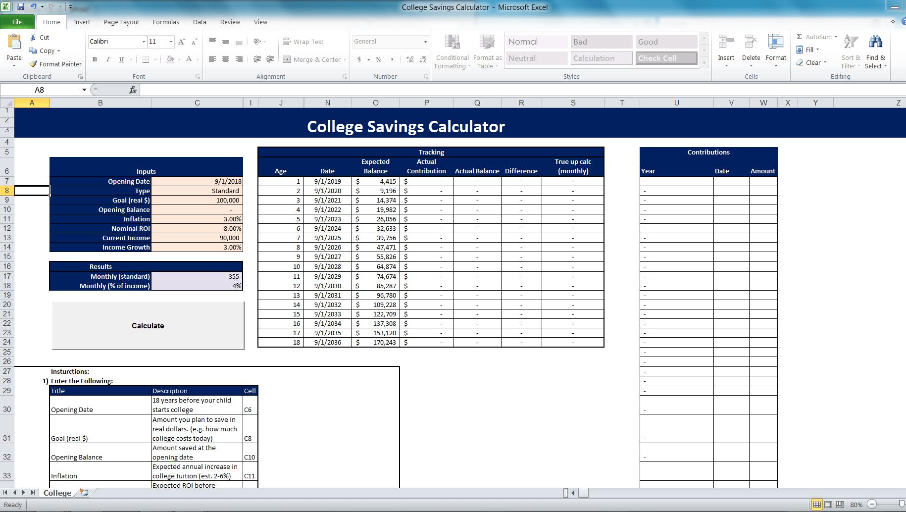 College Savings Calculator