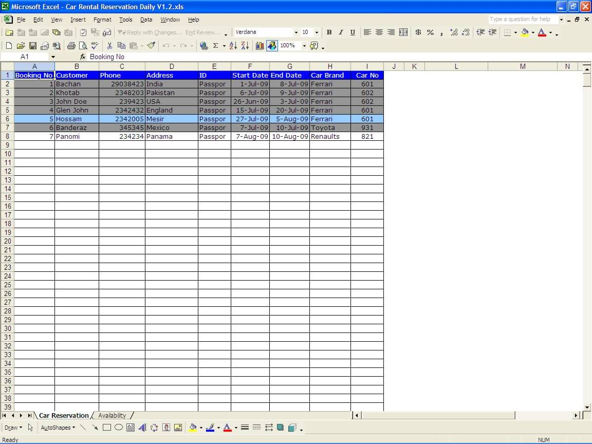 Car Rental Reservations The Spreadsheet Page