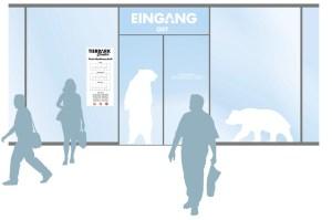 Gestaltung Eingangsbereich für das Tierpark Center, Shoppingcenter