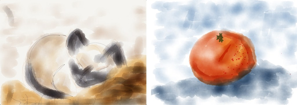 Katze, Apfelsine, Illustration