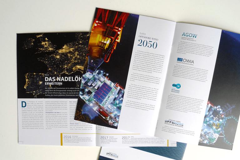 Doppelseiten in der Broschüre Offshore – Deutschlands Windstärke