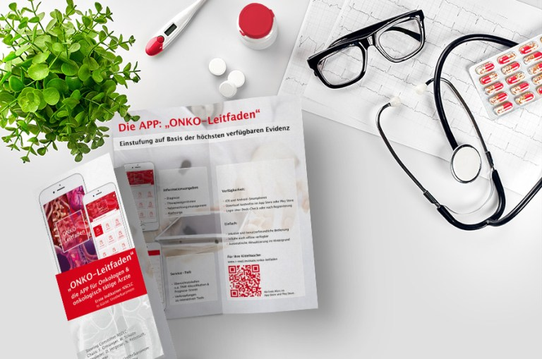 Flyer für ONKO-App, Kommunikationsmaterial, Messematerial, Flyer, Faltblatt