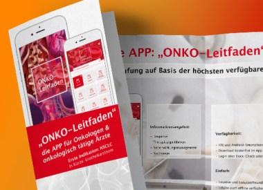 Flyer für ONKO-App, Kommunikationsmaterial, Messematerial, Teaser
