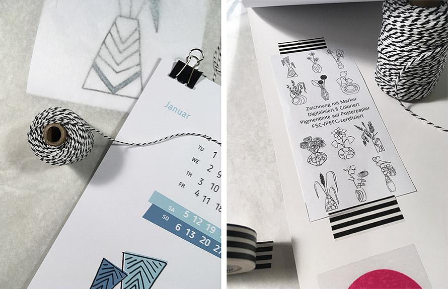Kalender 2019, Illustrationen von Blumen und Vasen, Kundenpräsent 2019