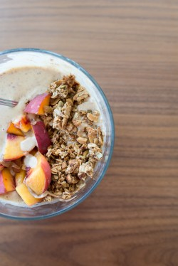 peach almond butter smoothie bowl