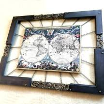 001 World Map Industrial Frame by Spring and Gears