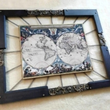 005 World Map Industrial Frame by Spring and Gears