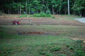Here's how the land looked when we left. Most had a first pass with the tiller, but when the tiller conked out, we called it a day, too.