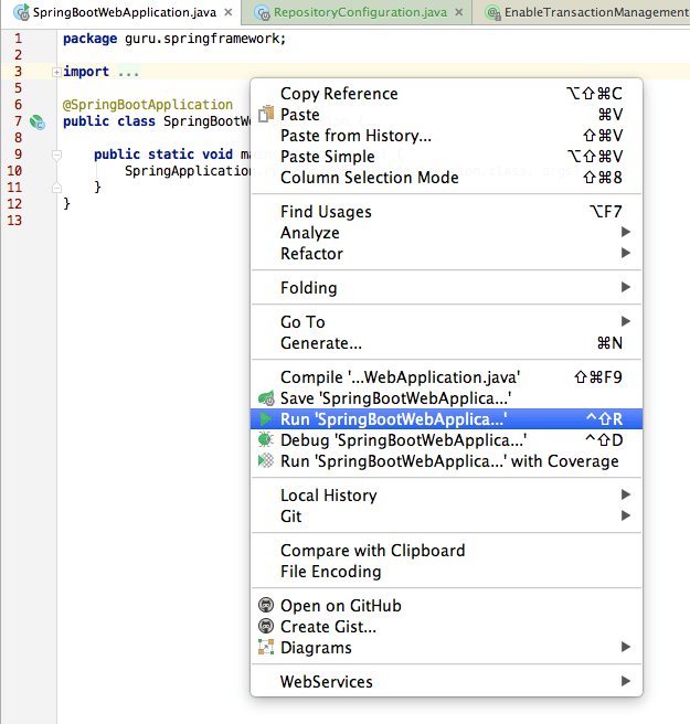 run spring boot application from intellij