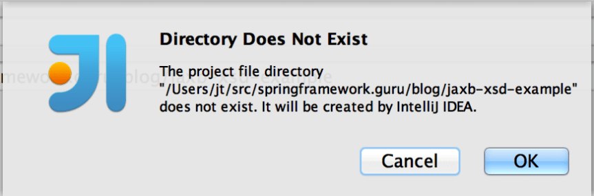 Directory Does Not Exist dialog in IntelliJ