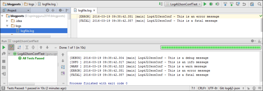 Log4J 2 JSON Configuration for File and Console Output