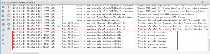 在弹簧启动时使用默认配置记录输出