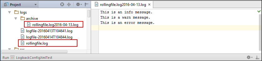 Rolling File Appender Output