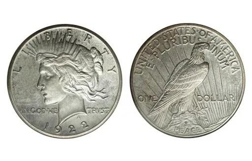 Peace AU Coins Silver Peace Dollar Almost Uncirculated Peace Silver Dollars AU
