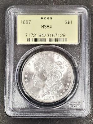 M04-61 1887 Morgan Silver Dollar PCGS MS64