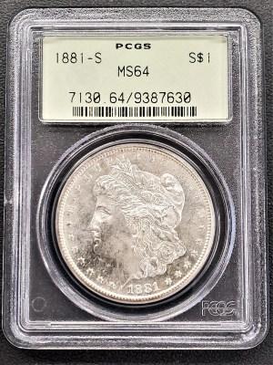 M04-17 1881 Morgan Silver Dollar PCGS MS64