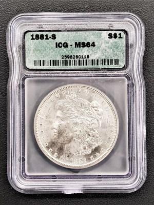 M04-20 1881 Morgan Silver Dollar ICG MS64